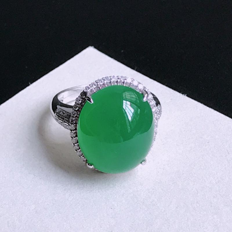 裸石尺寸:16/13.6/6.3mm,含金尺寸 18.1/15.9/11.2mm,天然A货翡翠带绿1