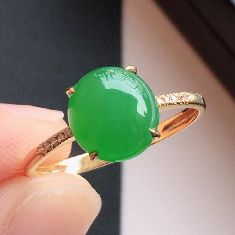 精品翡翠18k镶嵌伴钻戒指,玉质莹润,佩戴效果更美,尺寸:内径尺寸:17.3MM,裸石尺寸:8.2*