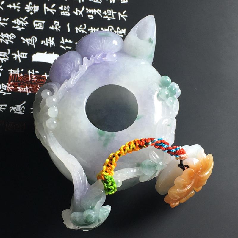 细糯种三彩精美茶壶摆件 尺寸81-52-50毫米 水润细腻 色泽亮丽 雕工精致