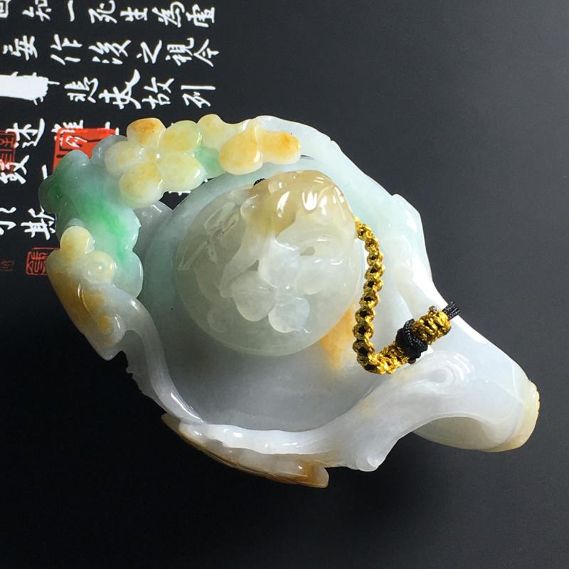 细糯种黄加绿精美茶壶摆件 尺寸78-49-50毫米 水润细腻 色彩艳丽 雕工精湛