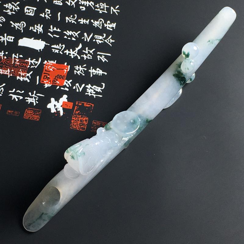 糯化种飘花一鸣惊人烟嘴 尺寸118-9-9毫米 水润冰透 飘花灵动 雕工精湛