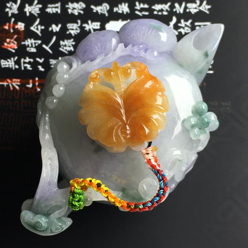 细糯种三彩茶壶摆件 尺寸78-52-40毫米 水润细腻 色彩亮丽 雕工精湛