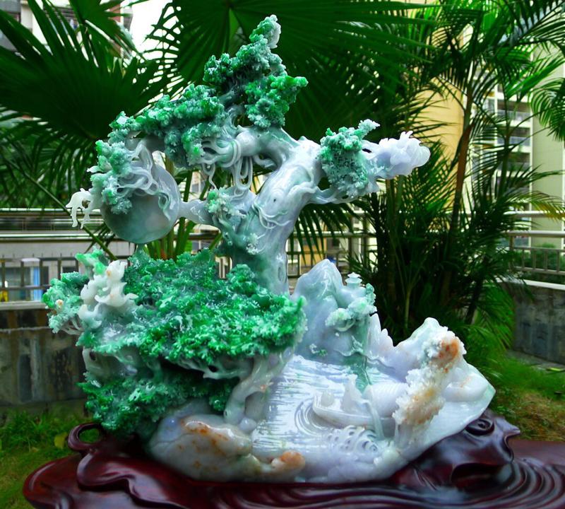 缅甸天然翡翠A货 精美 黄加绿 高山流水 一路相随 步步高升 发财树摆件 雕刻精美线条流畅种水好 层