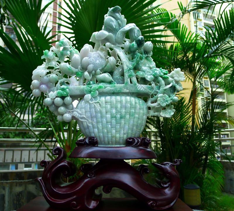 缅甸天然翡翠A货 精美喜上眉梢 花开富贵 多子多福 好事连连 花蓝摆件 雕刻精美线条流畅 种水好 搭