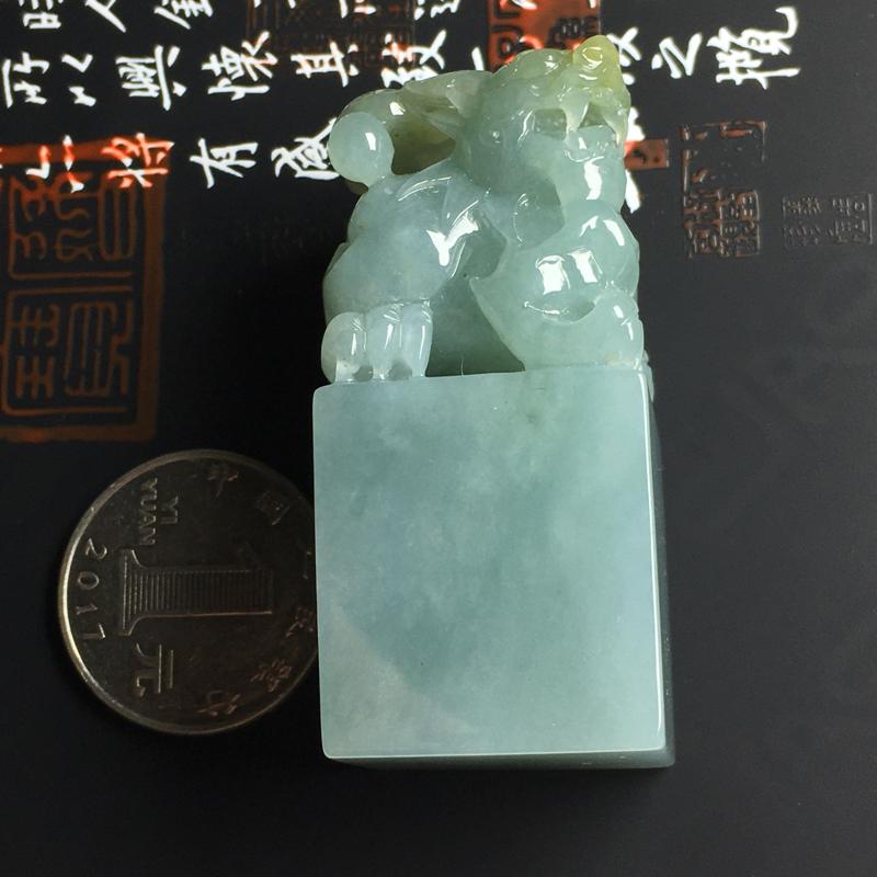 细糯种貔貅印章  尺寸52-25-23毫米 玉质水润 雕工精湛