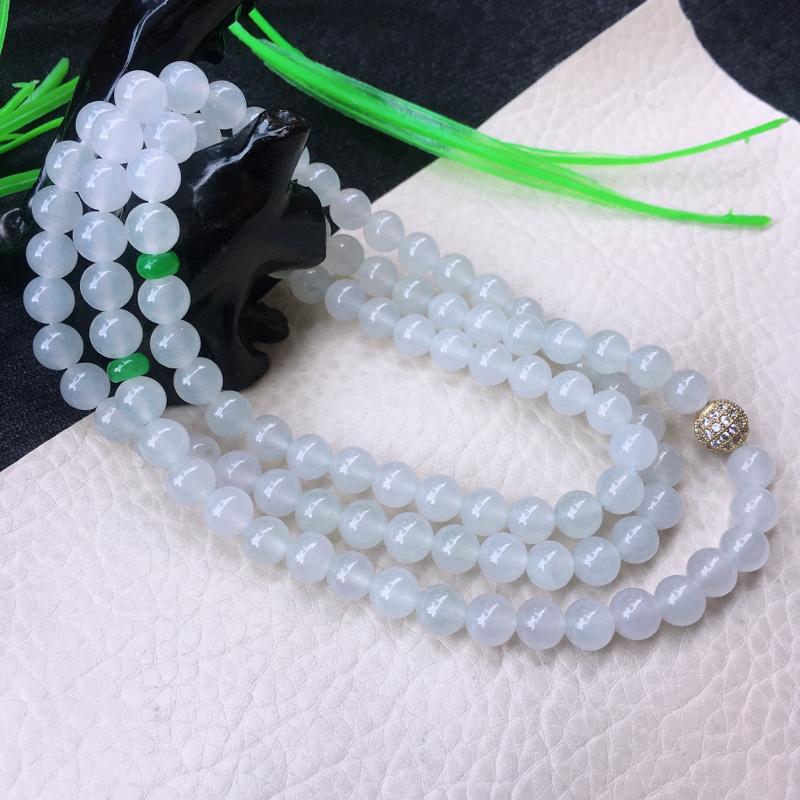 水润圆珠项链,108佛珠,玉质细腻,冰清洁白无瑕,油润细腻,单珠7mm 共108颗白珠,绿珠为翡翠隔