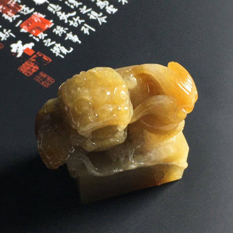 糯种黄翡貔貅印章 尺寸47-28-48毫米 水润细腻 色彩艳丽 雕工精湛