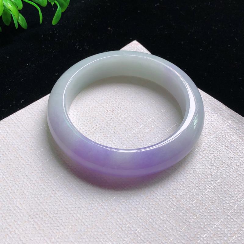 圈口:54.3mm 天然翡翠A货细腻紫罗兰小圈口宽边正装54-55圈口手镯,玉质细腻,水头好,有天然