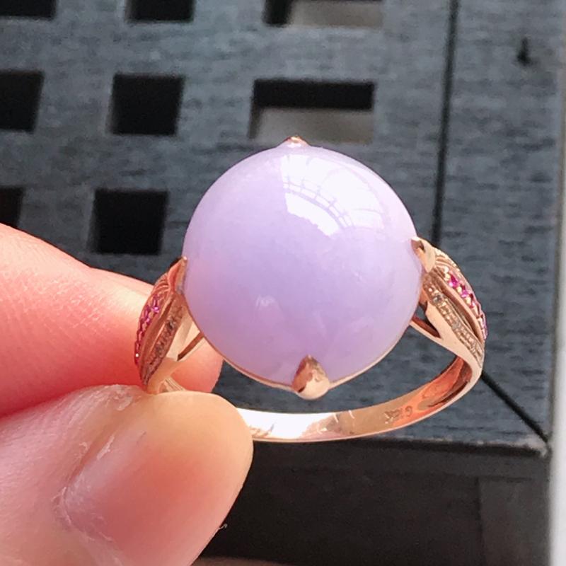 翡翠a货 18K金伴钻糯种满紫蛋面戒指,玉质细腻 色美种足 尺寸内径17.1,裸石12.9/12.0