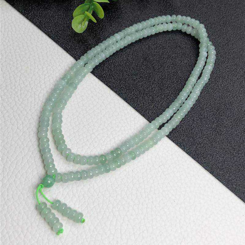糯种算盘珠子翡翠珠链项链      204颗    直径5.7毫米       玉质水润     色