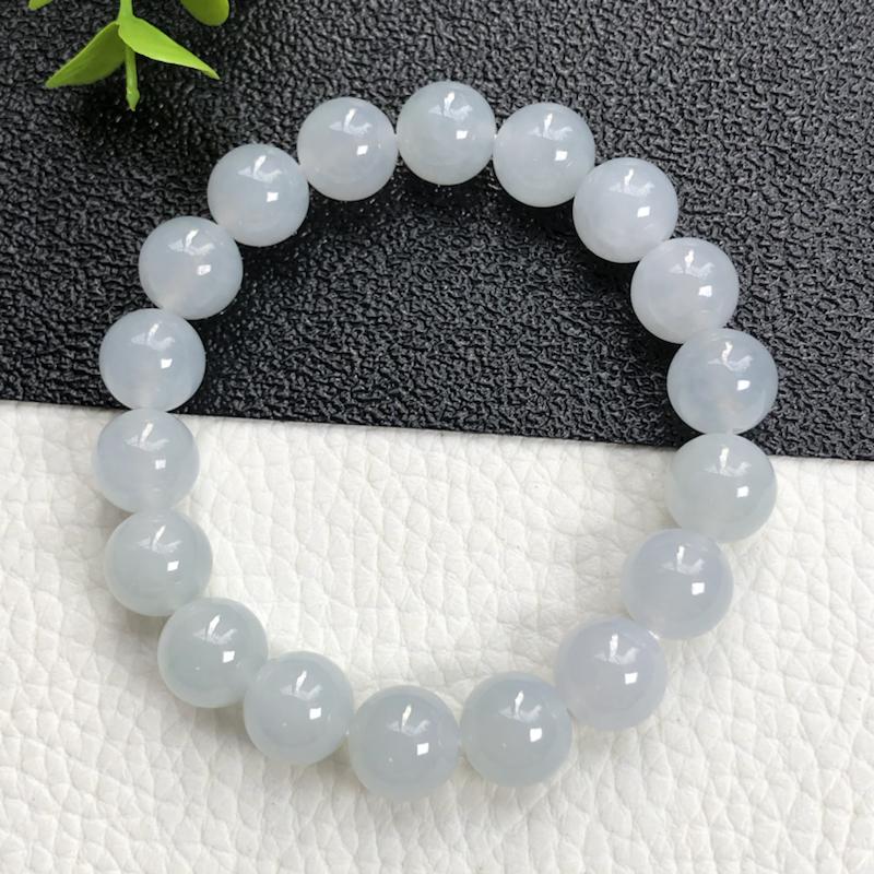 糯种翡翠珠链手串     直径10.5毫米      玉质细腻     水润光泽     编号A07