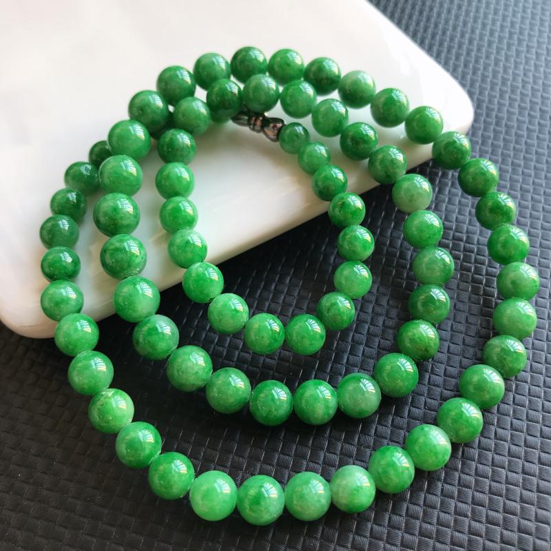 1126老坑精美水润阳绿A货翡翠玉珠项链 大珠尺寸7.5mm 小珠尺寸5.7mm 共78颗玉珠