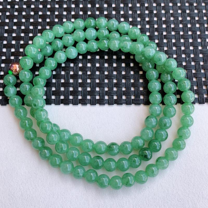 满绿项链、尺寸:108颗6.4mm,A货翡翠满绿圆珠项链、编号1127