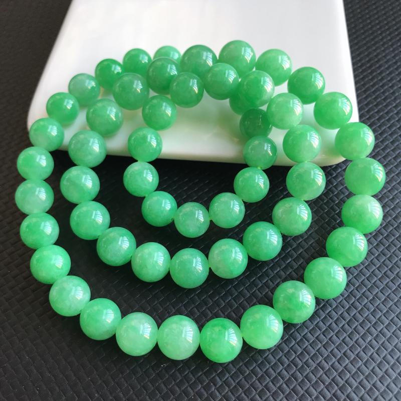 1127老坑精美水润阳绿A货翡翠玉珠项链 大珠11mm 小珠9.2mm 共56颗玉珠