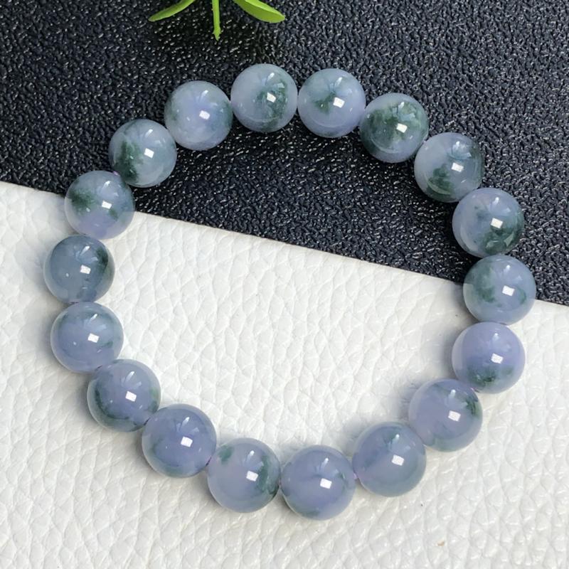 糯种紫罗兰飘花珠链手串     直径11.0毫米    玉质细腻    色泽鲜艳     飘花灵动