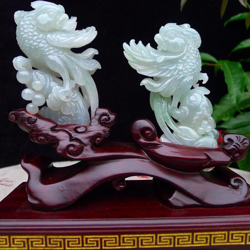 翡翠精雕老种水润英明神武,鹦鹉🦜一对精品摆件