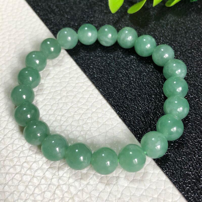 【超值精选】糯种翡翠珠链手链       直径9.2毫米      质地细腻     色泽鲜艳