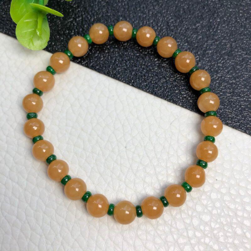 糯种黄翡翠珠链手链     直径6.2毫米      算盘珠子直径3.5毫米     质地细腻