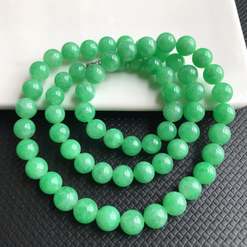 1129老坑精美水润阳绿A货翡翠玉珠项链 大珠8.5mm 小珠7.2mm 共64颗玉珠