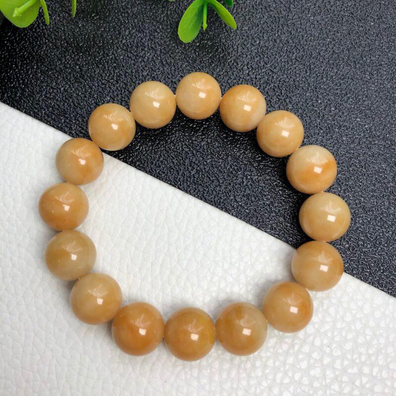 糯种黄翡翠珠链手链     直径12.9毫米    质地细腻    色彩鲜艳      色泽均匀