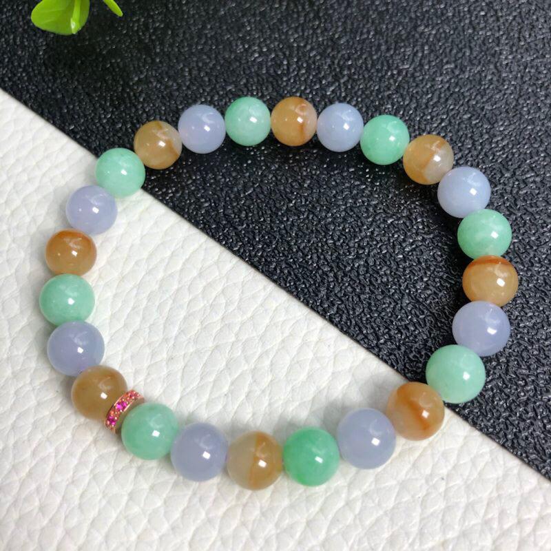 糯种多彩翡翠珠链手链     直径7.7毫米      质地细腻    色彩鲜明     水润光泽