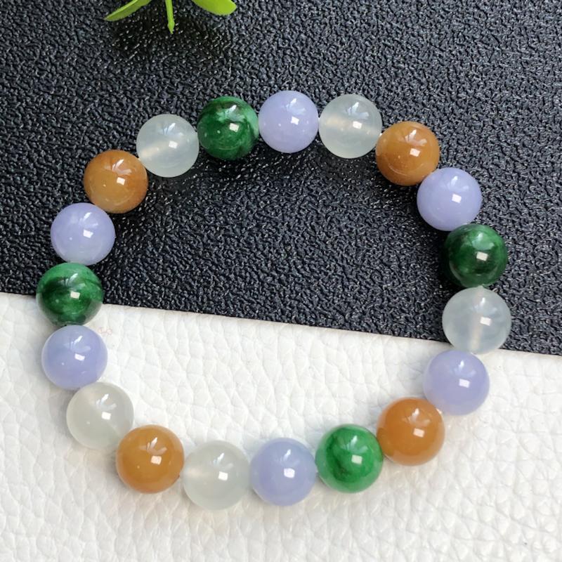 冰种多彩翡翠珠链手串      直径10.2毫米      质地细腻    色彩鲜艳     水润光