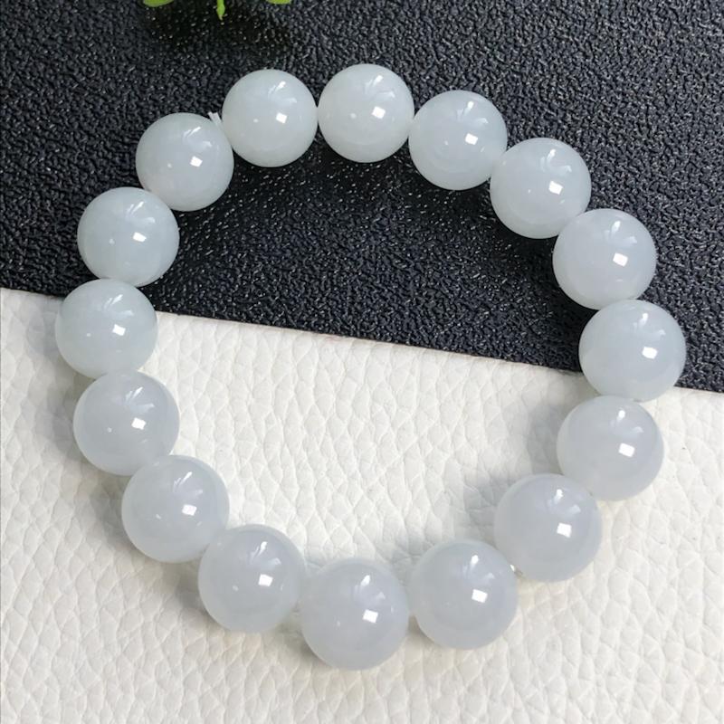 糯种翡翠珠链手串      直径13.4毫米     玉质细腻     清爽干净      编号A0