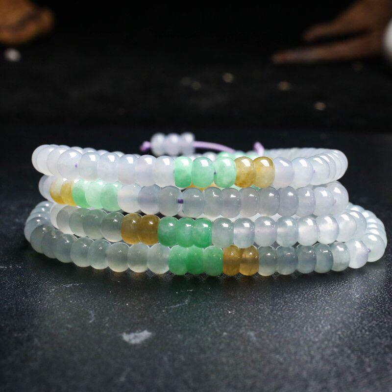 天然翡翠珠链,共190颗珠子,取其中一颗珠尺寸大约5.8*4.1mm,珠子清秀高雅,实物漂亮,色泽