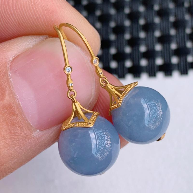 紫罗兰耳坠、裸石尺寸:11.1mm,A货翡翠18k金伴钻18k金伴钻紫罗兰圆珠耳坠、编号1203