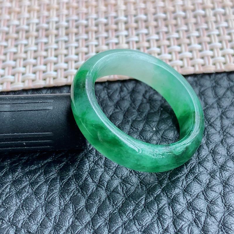 飘花指环、A货翡翠飘花翡翠指环、编号1215