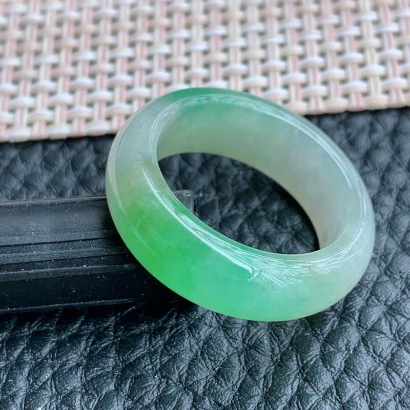 双彩指环、A货翡翠冰润双彩翡翠指环、编号1215