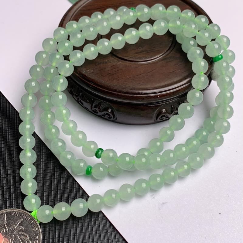 A货翡翠-种好淡绿圆珠项链,尺寸-其一圆珠直径6.6mm