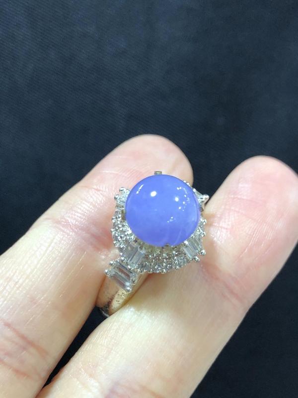 浓紫罗兰戒面 铜托 肉质细腻 种好色好 裸石尺寸9.7-9.5-5.8