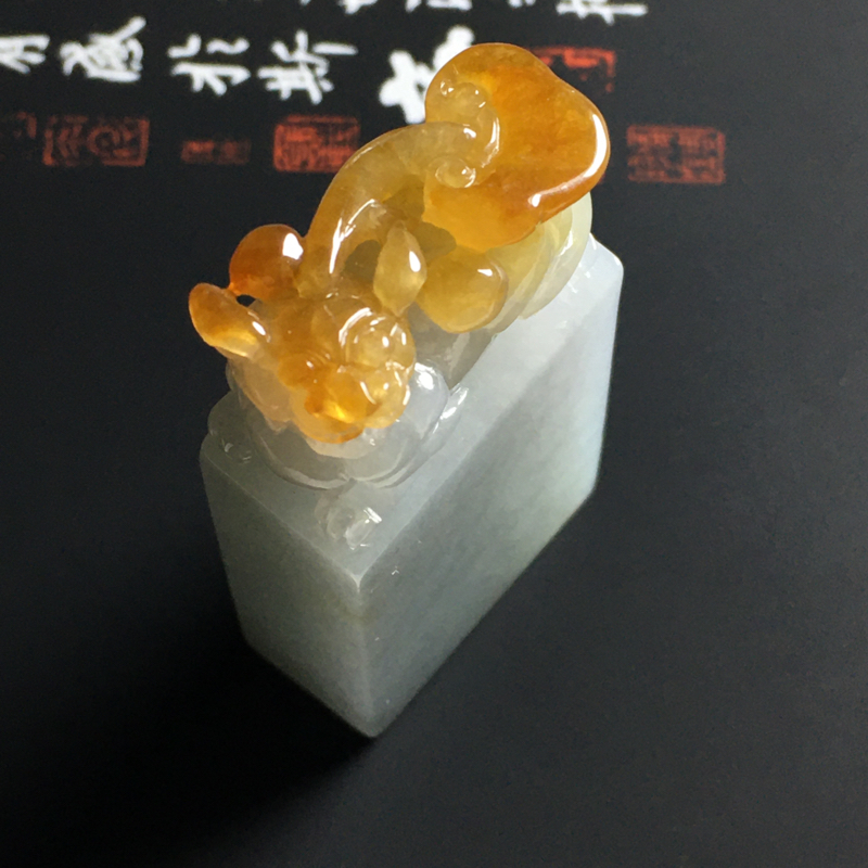细糯种黄翡貔貅印章 尺寸51-25.5-12毫米 水润通透 细腻清爽 雕工精细