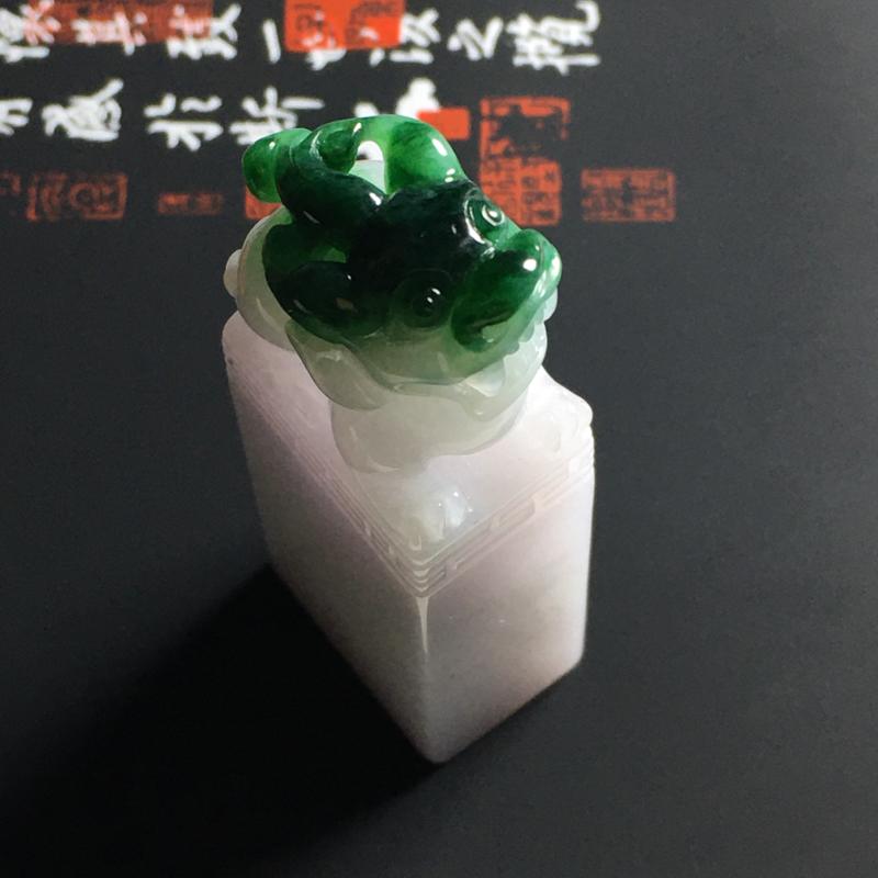 糯种带色貔貅印章 尺寸57-21-14毫米 玉质细腻 翠色艳丽 品相精美