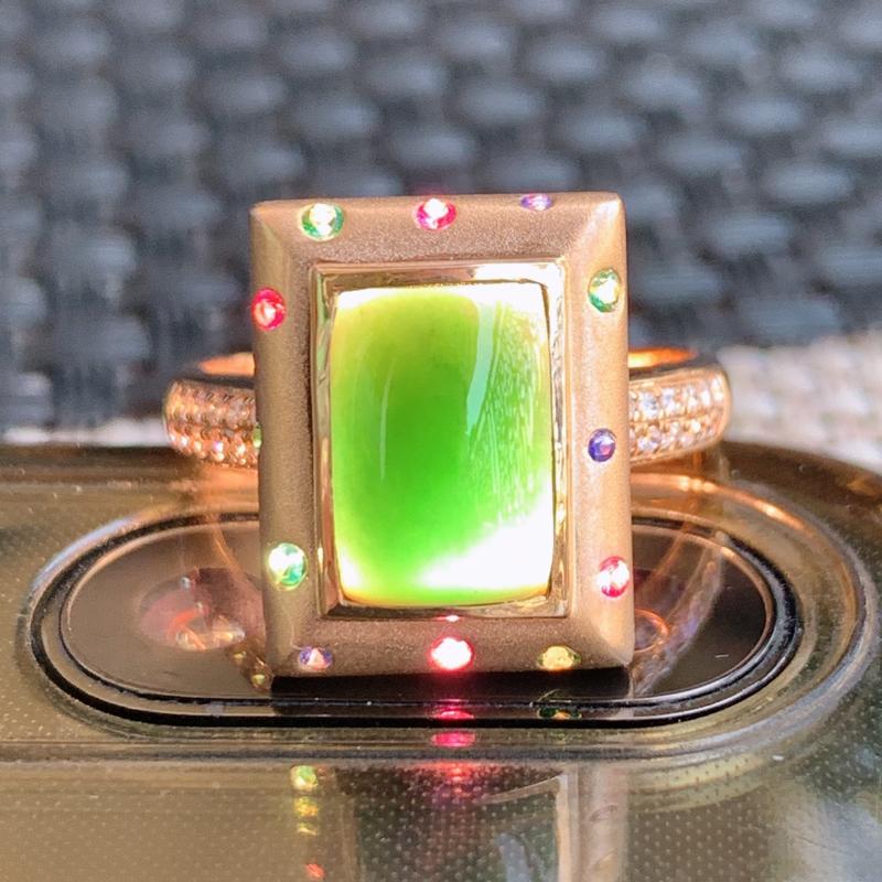 墨翠戒指、裸石尺寸:9.5/6.8/3.2mm、A货翡翠18k金彩宝镶嵌墨翠戒指、编号1228wx