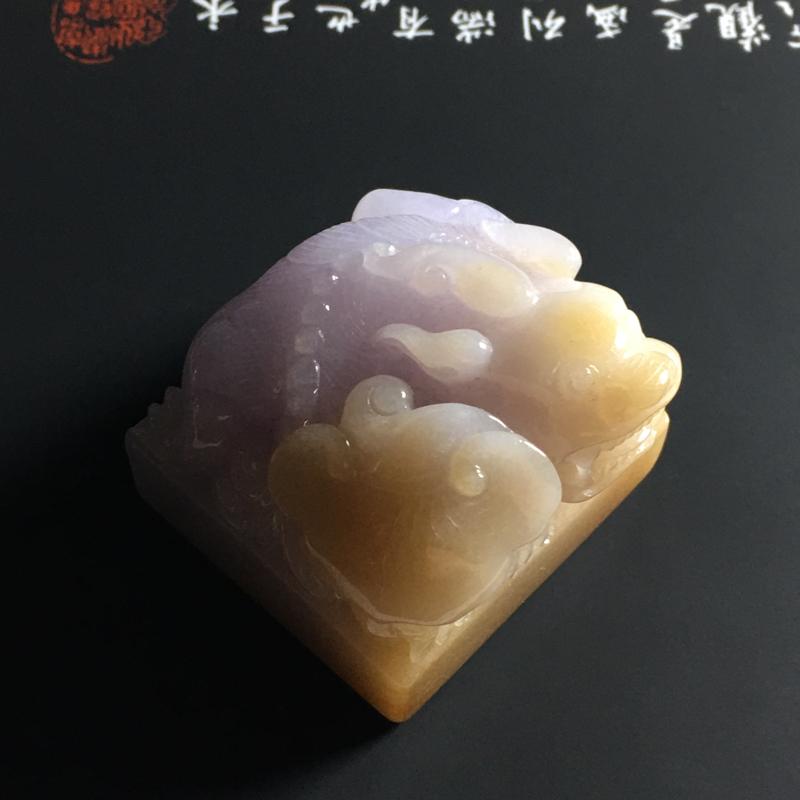 糯种双彩貔貅印章 尺寸37-29毫米 玉质细腻 色泽亮丽 雕工精湛