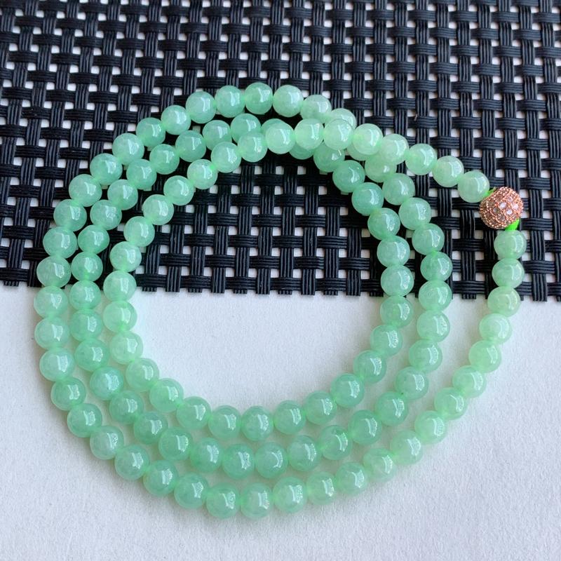 满绿项链、尺寸:108颗6.2mm,A货翡翠冰透满绿圆珠项链、编号0113