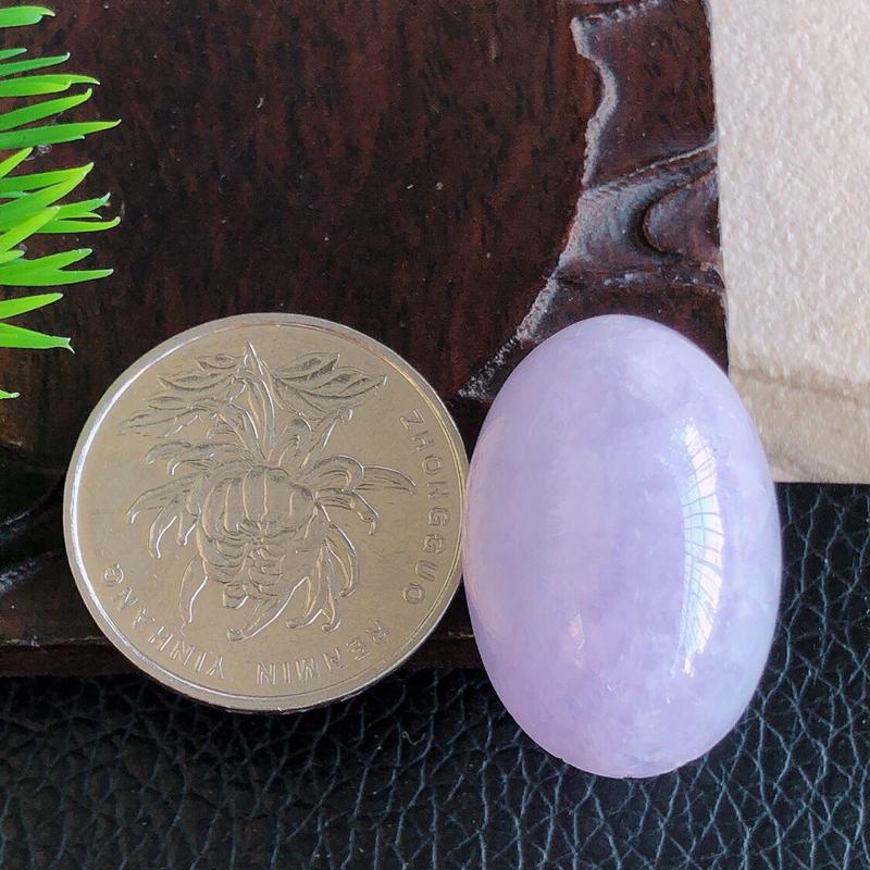 天然缅甸老坑翡翠A货紫罗兰鸽子蛋裸石,可镶嵌吊坠,料子细腻柔洁,尺寸28/19/15mm,重量13.40g。