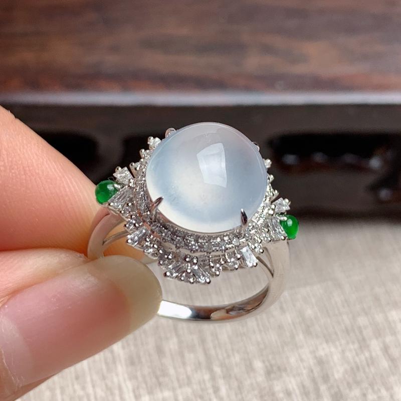 A货翡翠-种好冰润18k金伴钻蛋面戒指,尺寸-裸石11.6*10.4*4mm整体16.8*18.5*