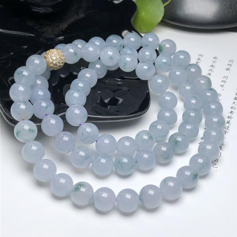 冰糯种粉紫飘花翡翠珠链项链、70颗、直径9.9毫米、质地细腻、飘花灵动、隔珠是装饰品、ADA150D