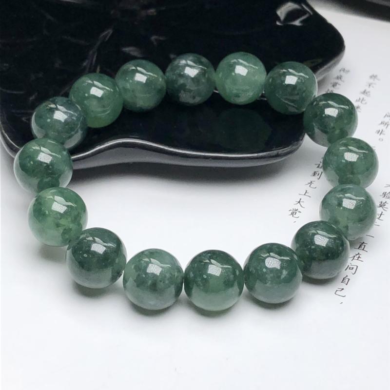 冰糯种深晴底飘绿花翡翠珠链手串、直径12.8毫米、质地细腻、色彩鲜艳、ADA053C45