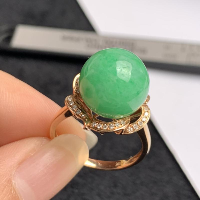 A货翡翠-种好满绿18k金伴钻圆珠戒指,尺寸-裸石直径12.2mm整体14.3*15.2*14mm内
