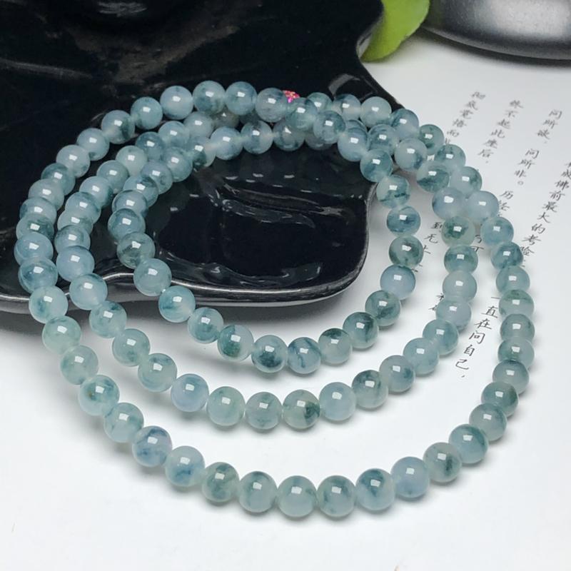 冰糯种飘花翡翠珠链项链、108颗、直径6.3毫米、质地细腻、飘花灵动、隔珠是装饰品、ADA085C9