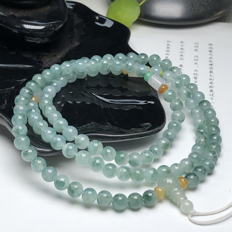 冰糯种飘花翡翠珠链项链、108颗、直径7.0毫米、质地细腻、飘花灵动、ADA031C38