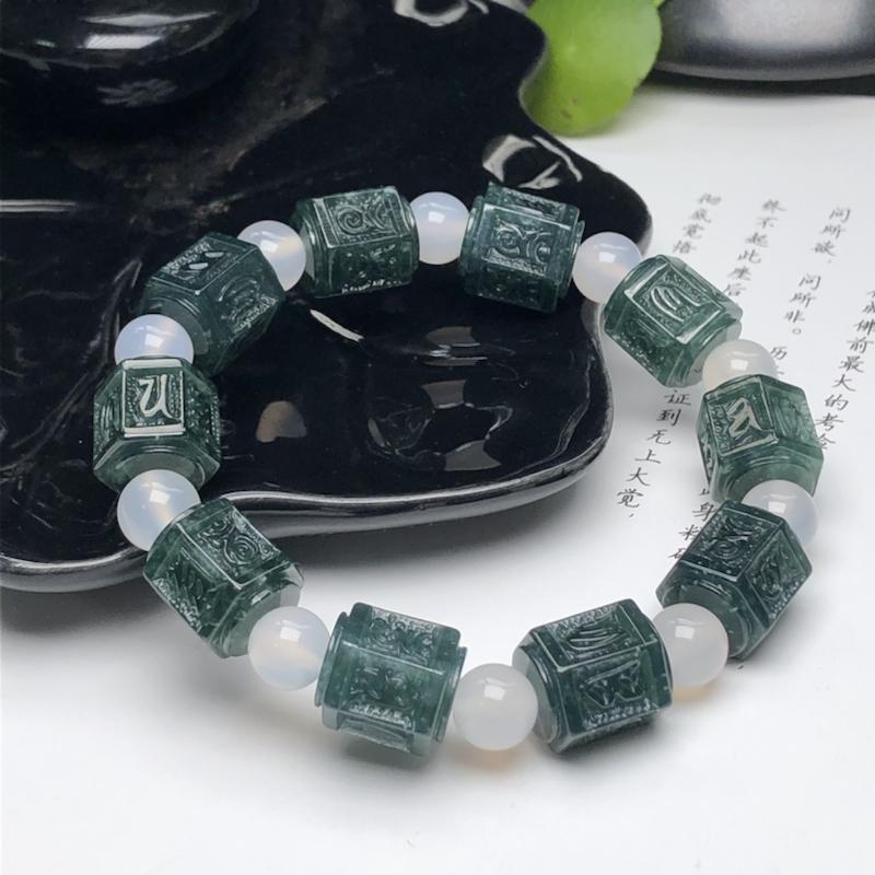 冰糯种蓝水六字真言翡翠珠链手串、直径11.3*12.6毫米、质地细腻、色彩独特、隔珠是装饰品、ADA