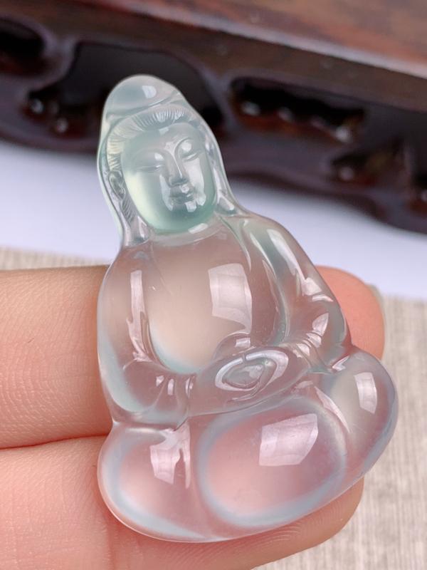 A货翡翠-种好冰种观音菩萨赐福,尺寸-39.5*25.9*6.1mm