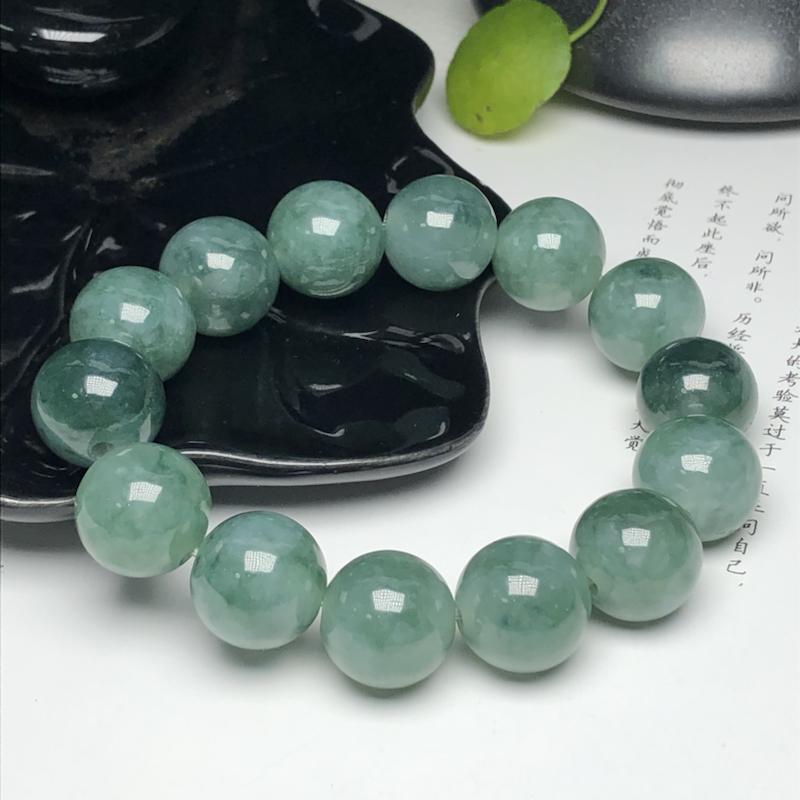 冰糯种深飘花翡翠珠链手串、直径16.3毫米、质地细腻、色彩独特、ADA085C68