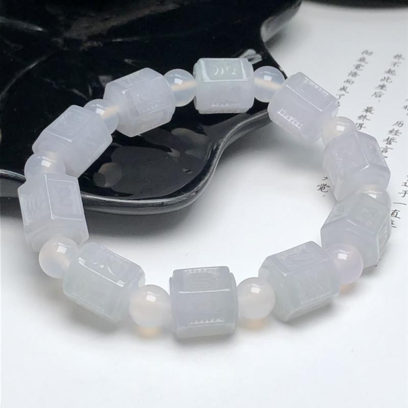 冰糯种粉紫六字真言翡翠珠链手串、直径11.9*13.2毫米、质地细腻、水润光泽、隔珠是装饰品、ADA