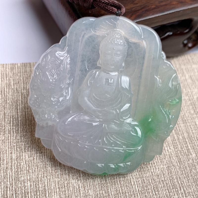 A货翡翠-种好飘绿阿尼陀佛菩萨吊坠,尺寸-50.2*47.9*6.3mm